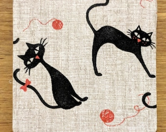 Set of Four Handmade Cat Coasters; Gift for Cat Lover, Cat Gift, Coasters, Cat Lover, Black Cat,  FREE SHIPPING