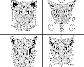 Adult Coloring Pages, Best Cat Lover Gift, Stress Relief, Good Vibes, Coloring Pages Pack, Printable Coloring Book PDF, Mandala Coloring