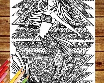 Fantasy Coloring Page, Mermaid Coloring Book Pages, Printable Adult Coloring,  Art Therapy, Mermaid Coloring Pages, Instant Download Print