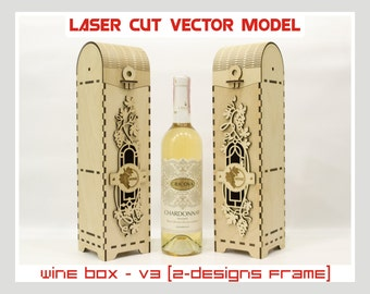 Wine box, Wood wine box, Plywood  wine box, Laser cut vector model, Instant download, Wine box - V3