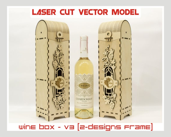 wine box wood wine box plywood wine box laser cut vector. Black Bedroom Furniture Sets. Home Design Ideas