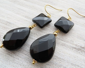 Black onyx earrings, drop earrings, dangle earrings, gemstone jewelry, uk stone earrings, italian jewellery, gift for her, modern jewelry