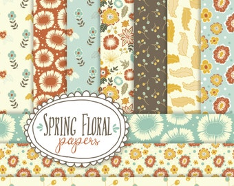 Spring Floral Seamless Patterns // Digital Papers // Flowers Leaves Blossoms // Blue Cream Ochre // Pattern Print // Vector Files // 12x12