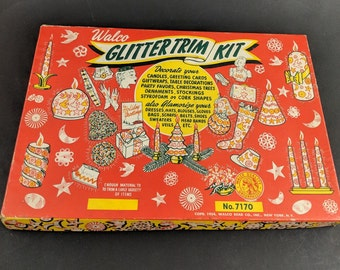 Vintage Glitter Kit Walco Craft Art Supply Kit 50s 1954 Packaging