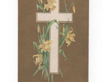 A Joyous Eastertide. Antique postcard with cross, daffodils. Vintage collectible ephemera scrapbook embellishment collage.