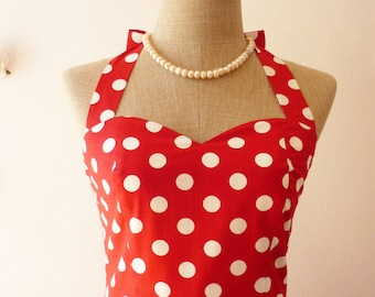 Red Summer Dress Red Sundress Red Party Dress Polka Dot Dress Vintage Dress Dot Pin Up Dress Minnie Micker Swing Dance Dress Halter or Strap