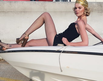 Vintage 1950s 50s  Jantzen Black Fitted Swimsuit Swimming Costume lightning metal Zip Back m S Modest