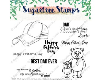 Fathers INSTANT DOWNLOAD Sugartree Stamps Digital Stamps, Fathers Day, Best Dad Ever, Baseball Hat Stamp, Dad Quotes, Father Clipart