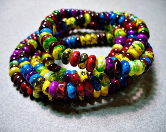 Glass Beads Mix Colors Rondelle 6x3MM