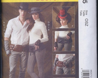 McCall's 6975 Unisex Steampunk Cos Play Accessories Belt Hat Spats Gaiters Gloves UNCUT Sewing Pattern