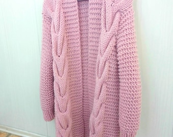 Chunky Knit Cardigan, Long Cardigan, Wool Cardigan