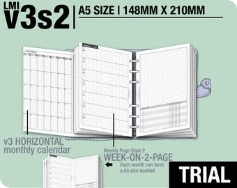 Trial [A5 v3s2 w/o daily] July to September 2018 - Filofax Inserts Refills Printable Binder Planner Midori.