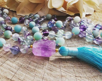 Mala necklace. Mala 108. Amazonite and fluorite mala necklace. Amazonite mala necklace. Hand knotted mala necklace. Ready to ship.