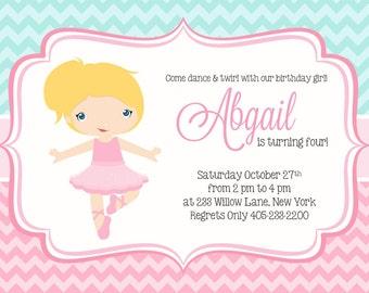 Ballerina Invitation, Ballet Birthday Invitation, Ballet Invitation, Ballet Party Invitation, Ballet Party Invite, Girl Birthday Idea