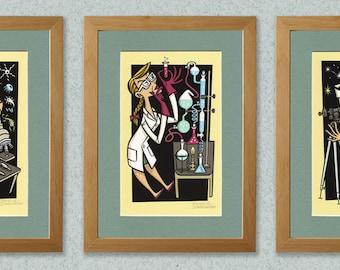 Wonders of Science, set of three high quality art prints.