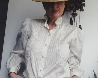 Vintage cream 80s ruffle blouse
