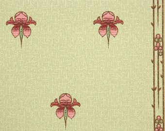 1900s Vintage Wallpaper by the Yard - Antique Floral Art Deco Floral Pink and Green