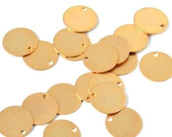 Brass charm - flat, circular (10mm) - Gold - PENM16OR308