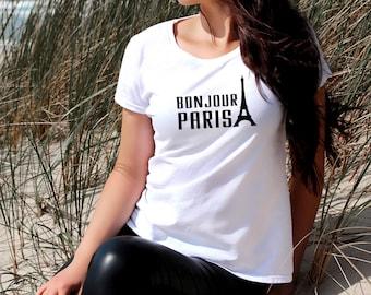 Bonjour Paris Women's T-shirt White Black Slogan Blogger Casual Outfit Tee