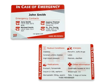 ICE Card - In Case of Emergency Card (emergency contacts, medical conditions, allergies, medications)