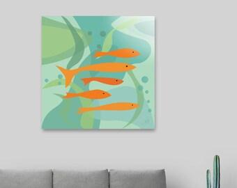 Orange fish and seaweed,Art print,Animal art print,mid century modern art ,art poster,wall art print,vintage art print,green,blue,orange