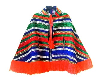 Vintage 1970s South American Guatemalan Ethnic Bohemian colorful poncho cape