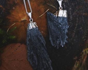 Black Kyanite Blade Necklace Sterling Silver