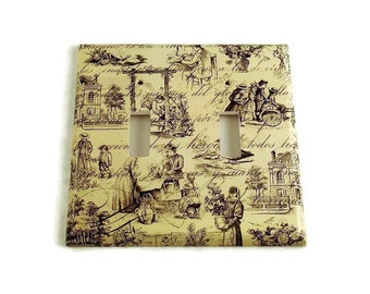 Double Toggle Switch Plate Light Switch Cover in Toile (178D)