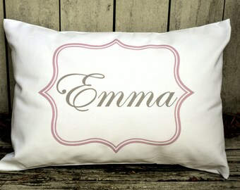 Personalized baby pillow, Newborn gift, girls pillow unique baby gift, pillow pink and grey baby gift idea