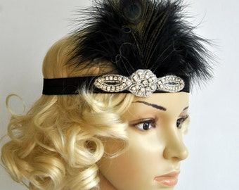 Black Flapper Feather Headband,The Great Gatsby headpiece, 1920s Flapper rhinestone Headband, Vintage Inspired,Feather, Art Deco headband