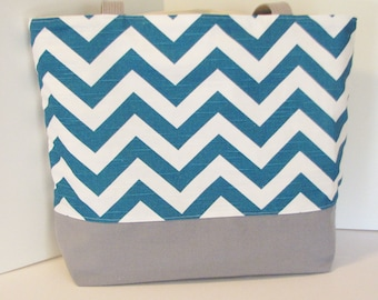 Chevron tote bag in TEAL . chevron Standard size beach bag . great bridesmaid gifts teachers tote  . Monogramming Available
