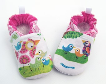 Classic Vegan Bird Talk / All Fabric Soft Sole Baby Shoes / Made to Order / Babies