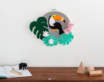 Hoop art, Tapestry, toucan embroidery art, Toucan wall decor, toucan wall art, Toucan wall hanging, monstera leaf, botanical embroidery