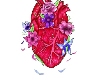 Heart with Falling Flower Petals
