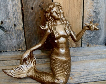 Large Mermaid Statue, Sitting Mermaid Statue, Mermaid and Starfish Statue, You Pick Color