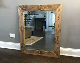 DARK WALNUT Wood Framed Mirror, Rustic Wood Mirror, Bathroom Mirror, Wall Mirror, Vanity Mirror Large Mirror, Brackets Mirror, Modern Decor