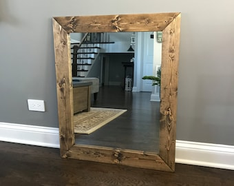 DARK WALNUT Farmhouse Mirror, Country Framed Mirror, Wood Mirror, Bathroom Mirror, Wall Mirror, Vanity Mirrors, Cottage Small Large Mirror