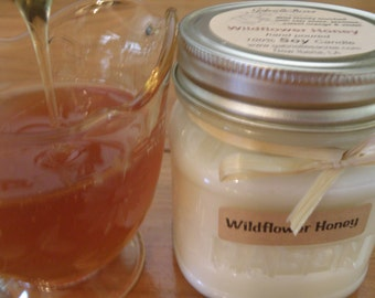 Wildflower Honey Soy Candle - Vintage Style Mason Jar - 100% Natural Soy Candle - Scent of Honey Candle