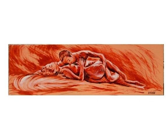 amour peinture acrylique format panoramique couple. Black Bedroom Furniture Sets. Home Design Ideas
