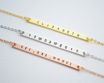Personalized Thin bar Necklace name bar Necklace Personalized necklace Bridesmaid Gifts Christmas gift for her name monogram jewelry