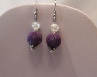 Earrings, Dark Purple Dangle Earrings, Plumb Earrings, Prom Earrings, Bridal Earrings, Purple Jewelry