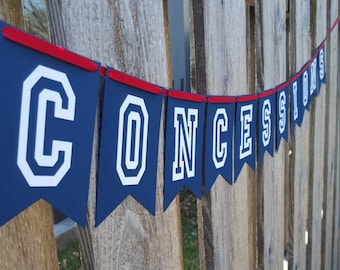 CONCESSIONS Banner, Concessions, Baseball Birthday, Baseball Party, Baseball Decorations, Baseball, Football, Sports, Tailgate decorations