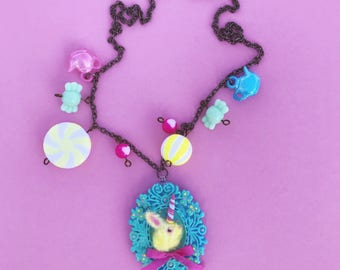 Unicorn Bunny Bunnycorn Necklace Fuzzy