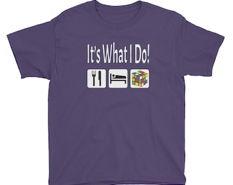 It's What I Do Eat Sleep Cube Puzzle Cubing Tee Youth Short Sleeve T-Shirt