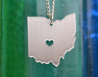Columbus Ohio Love Pendant on 18inch Sterling Silver Chain