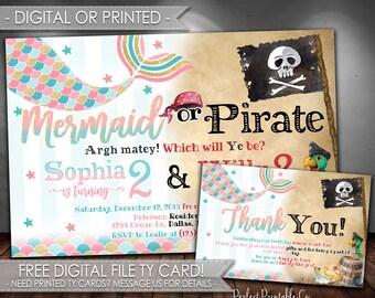 Mermaid or Pirate Invitation, Mermaid or Pirate Birthday Invitation, Mermaid Invitation, Pirate Invitation, Digital File or Printed #604