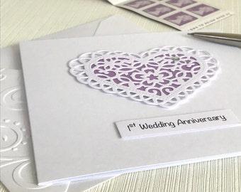 1st Wedding Anniversary Card - First Anniversary Card - 1st Anniversary Card - Paper Anniversary - Handmade Card - First Anniversary Card