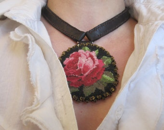 Embroidered textile Locket necklace