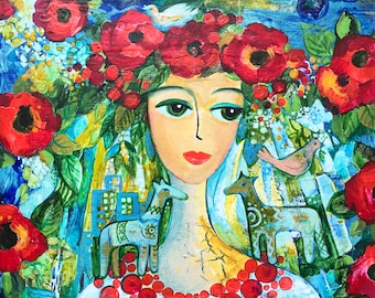 Sale, Original Painting, Refugee from Donbas (Eastern Ukraine, War Zone), Mixed Media on Canvas, Acrylics