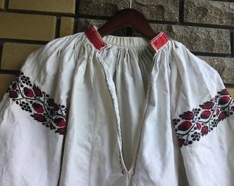 Vintage Embroidered Dress Ukrainian Vyshyvanka Handmade Red Black Cross Stitch Embroidery.